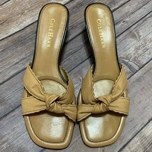 Cole Haan Tan knotted heeled sandals